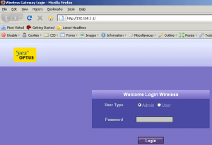 web interface login page