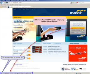 bank mandiri front page modified by sslstrip